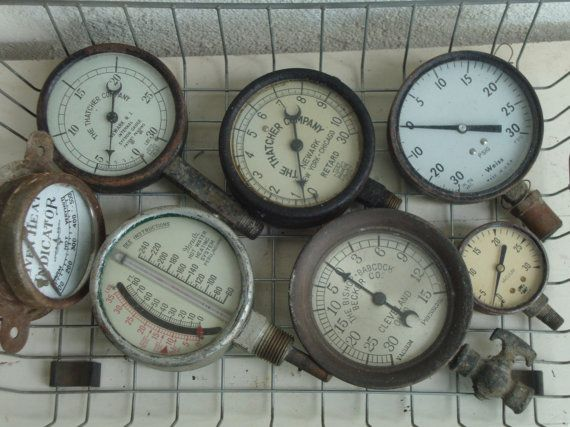 VINTAGE GUAGES THERMOMETERS  Industrial Meters  by absenceofcolor, $90.00