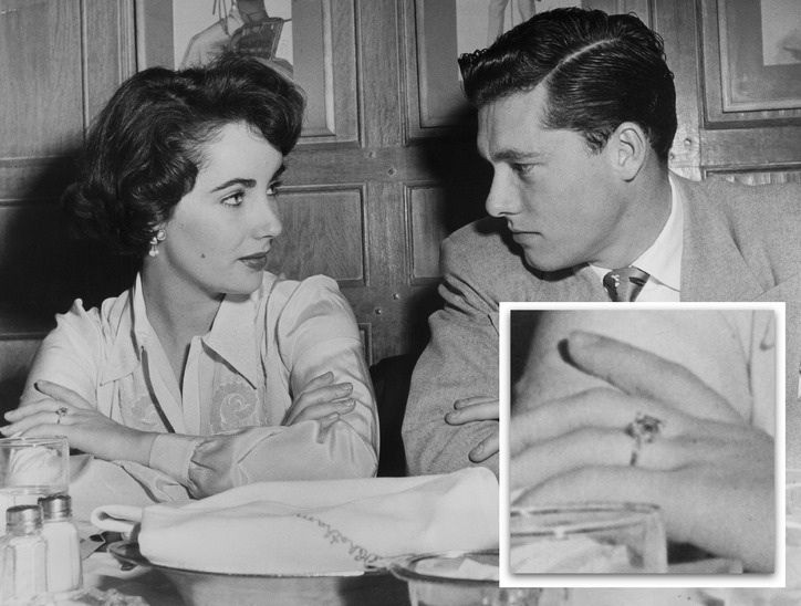 Elizabeth Taylor received a 4 carat diamond and platinum ring from her first