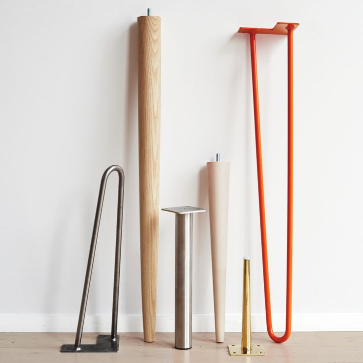 Table It: Great Legs for Your DIY Table. Sources for hairpin (industrial or modern), unfinished wood (wegner danish modern), stainless steel column (contemporary), tapered (mid century modern), and tapered slim brass.
