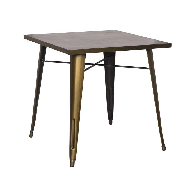 Metropolis Metal Dining Table, Brushed Copper