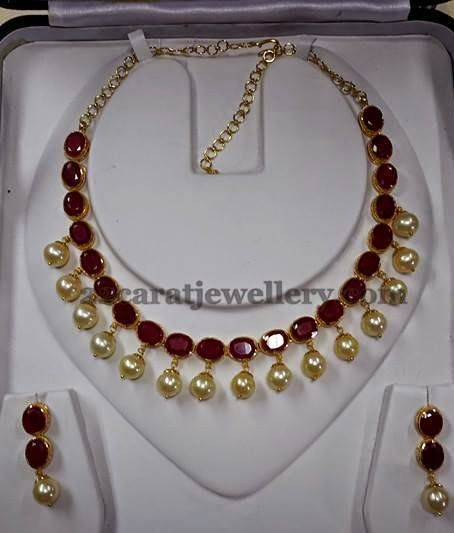 Jewellery Designs: 30gms Ruby Necklace with Pearl Drops
