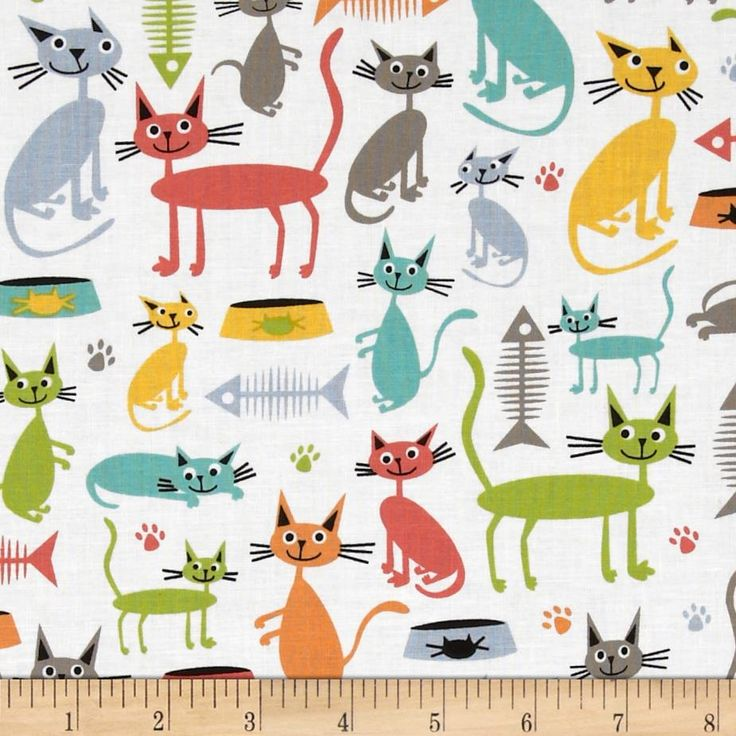 Michael Miller Atomic Tabbys Cat & Kaboodle White from @fabricdotcom  Designed for Michael Miller Fabrics, this cotton print includes colors orange, lime, aqua, grey and white. Use for quilting, crafts, apparel and home decor accents.