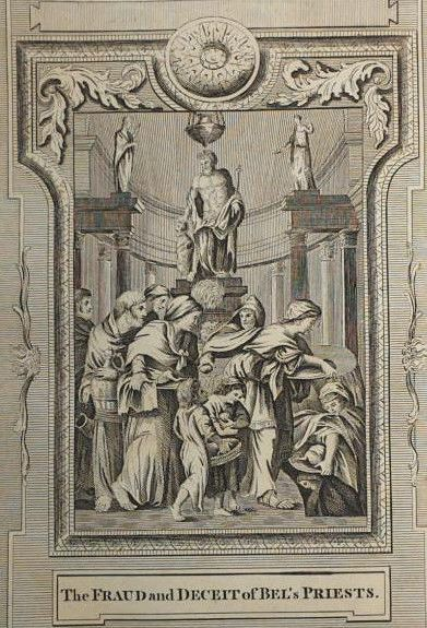 c1790 9x15 BIBLE LEAF Copper Plate Engraving Bel And The Dragon V15 Priest Fraud
