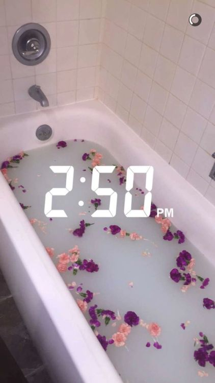 bath, flowers, and photography image
