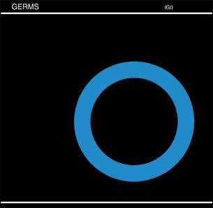 Front cover of (GI) by The Germs. Germs blue circle logo by Jan-Paul Beahm (Darby Crash). Cover designer unknown, 1979 Slash Records.    Fundamental.