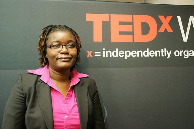 ILRI's Jemimah Njuki gives a TEDx Washington Circle talk in November 2010 on gender and agricultural development (photo credit: IFPRI).