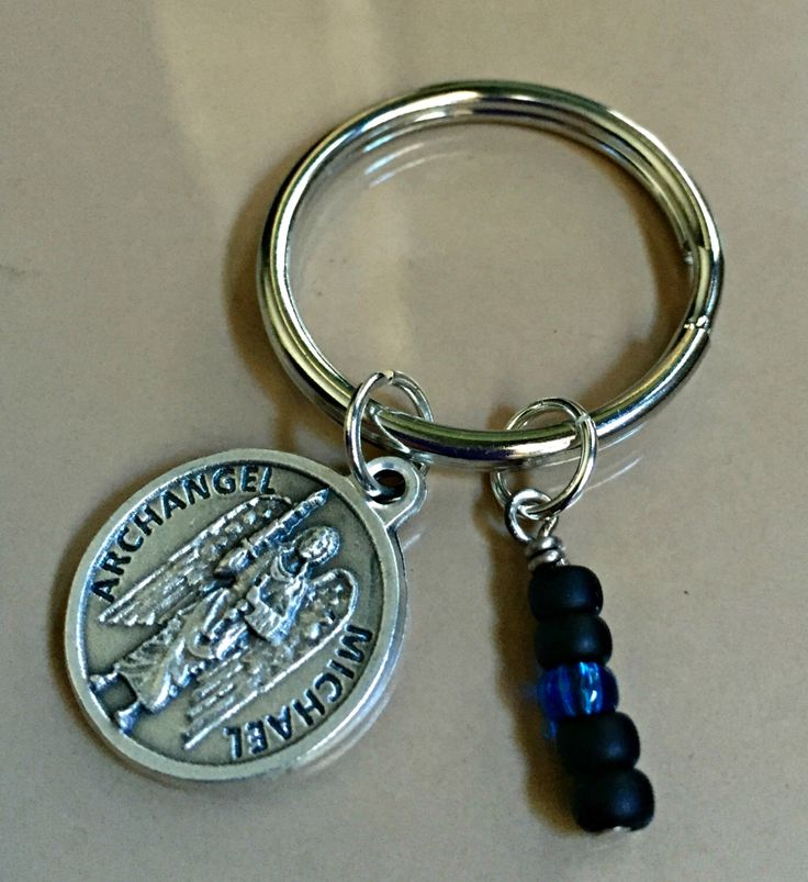 Thin Blue Line Keychain - St. Michael Keychain - Police Officer Gift - Police Prayer Keychain - Thin Blue Line - Stocking Stuffer by WishingFlowerJewelry on Etsy https://www.etsy.com/listing/246930424/thin-blue-line-keychain-st-michael