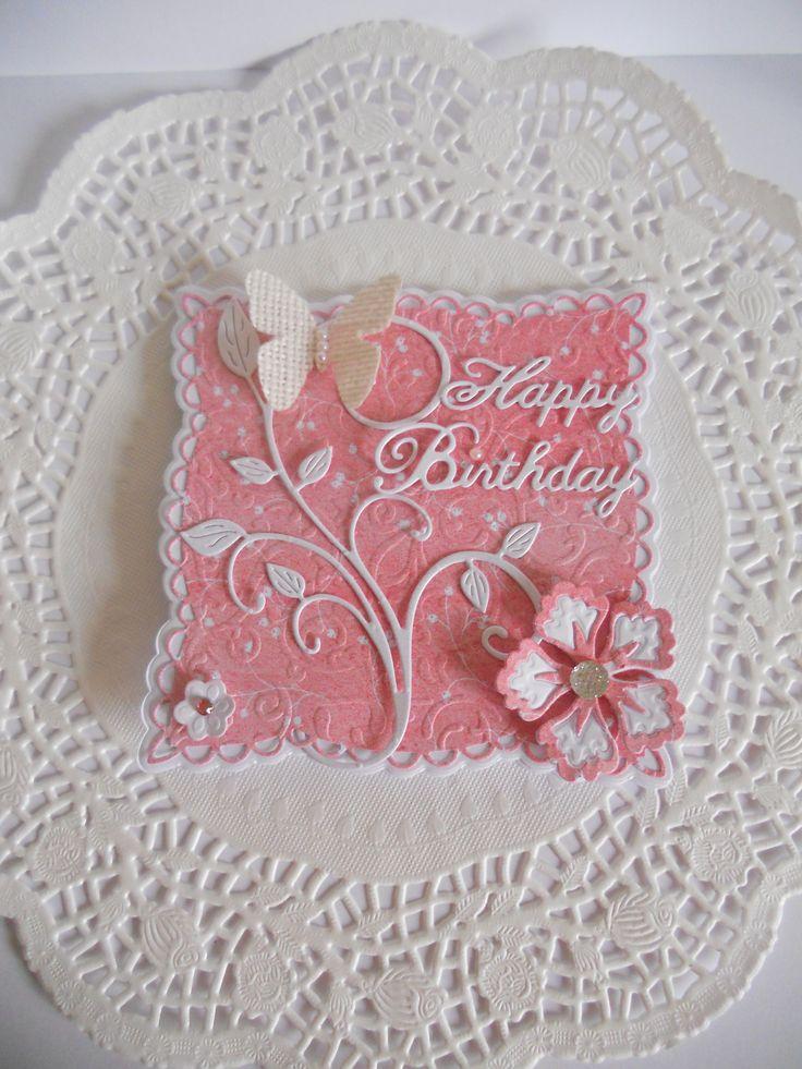 Marianne LR0242 Anja's squares,Memory Box Happy Birthday.Cheery Lynn Flourish.