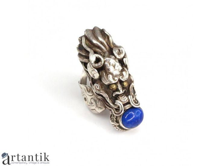 Inel chinezesc - Dragonul de Azur - argint & lapis lazuli