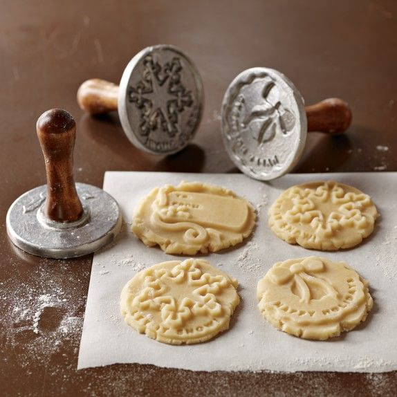 Made with cast-aluminum Christmas cookie stamps. These will make a festive impression!
