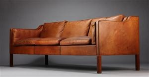 Lot: 2887600Børge Mogensen, three-seater sofa, cognac leather