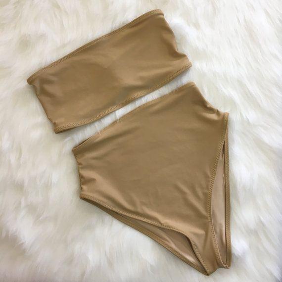 Nude Bandeau high waist swimsuit