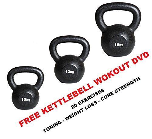 From 69.99 Kettlebells Cast Kettlebell Set 10kg  12kg 16kg Free Kettlebell Workout Dvd