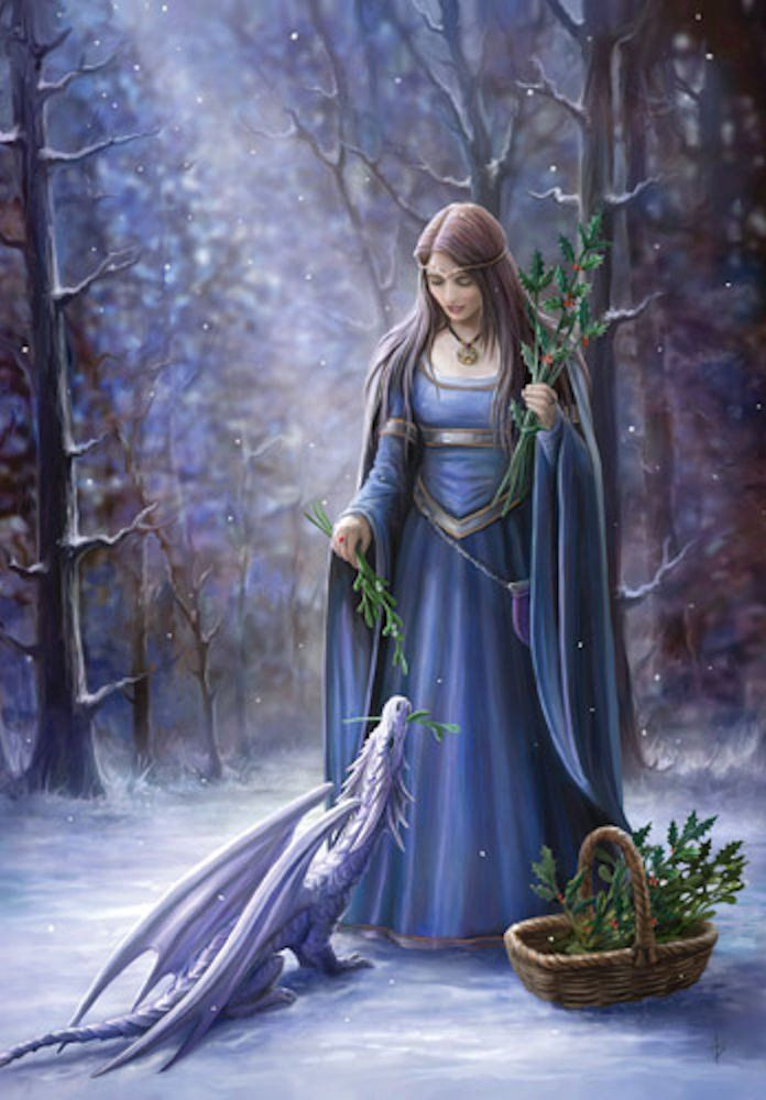"""Solstice Gathering DRAGON YULE Card by Anne Stokes - Maiden and DRAGON Holiday Card. """"Anne Stokes Art"""""""
