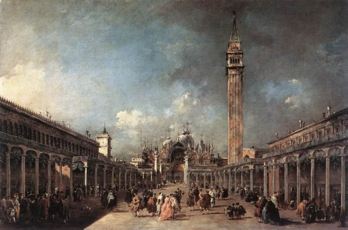 Johannes Vermeer Oil Painting Reproductions - A Lady at the Virginals with a Gentleman.(I can see many ladies and gentlemen, but where is the virginal?? Now seriously,...obviously not Vermeer's painting ,but painting of Venice: Piazza San Marco ca.1780, by Francesco Guardi)