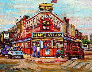 Geno's Steaks Philadelphia Cheesesteak Restaurant South Philly Italian Market Scenes Carole Spandau by Carole Spandau