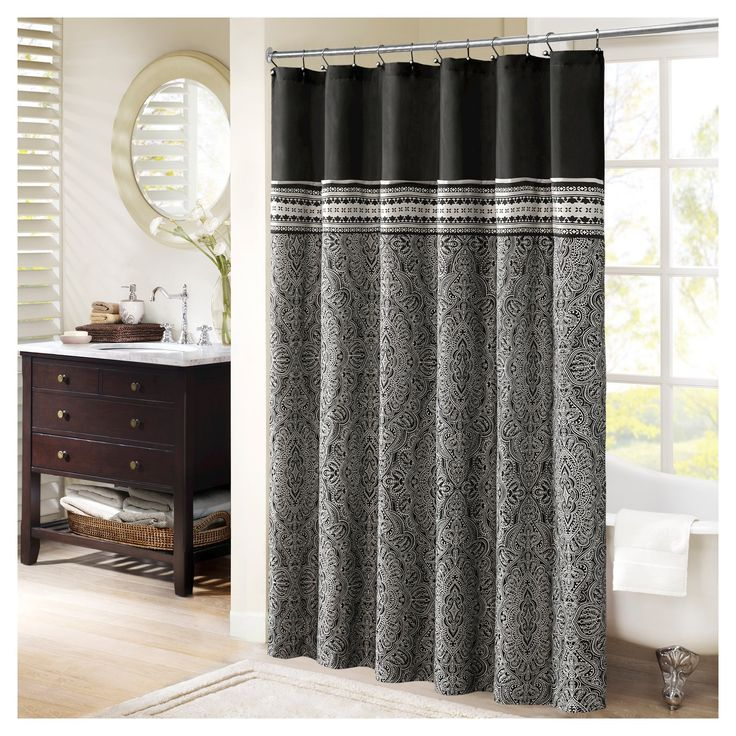 "Floral Shower Curtain Black - (72""x72"")"