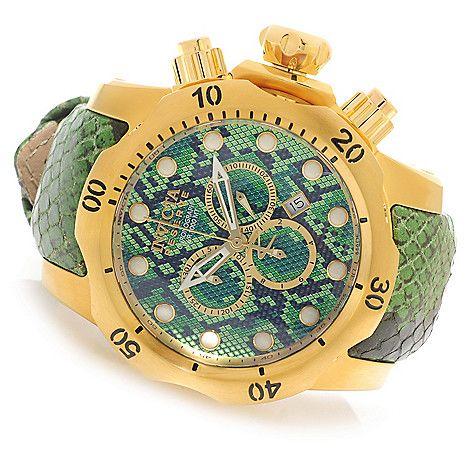 626-137 - Invicta Reserve 52mm or 42mm Venom Swiss Made Quartz Chronograph Leather Strap Watch,  Evine  $532 now $238.