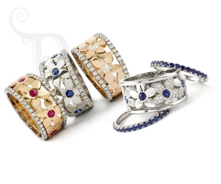 Handmade 18ct Gold Dianne Daisy Rings Set With Diamonds & Precious Gemstones