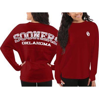 Oklahoma Sooners Women's Red Aztec Sweeper Long Sleeve Oversized Top