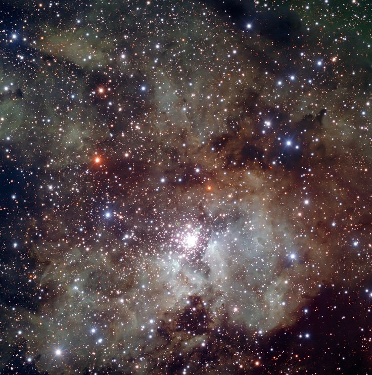 NGC 3603 is the most massive visible cloud of glowing gas and plasma, known as a H II region, in the Milky Way. The central star cluster is the densest concentration of very massive stars known in the galaxy.