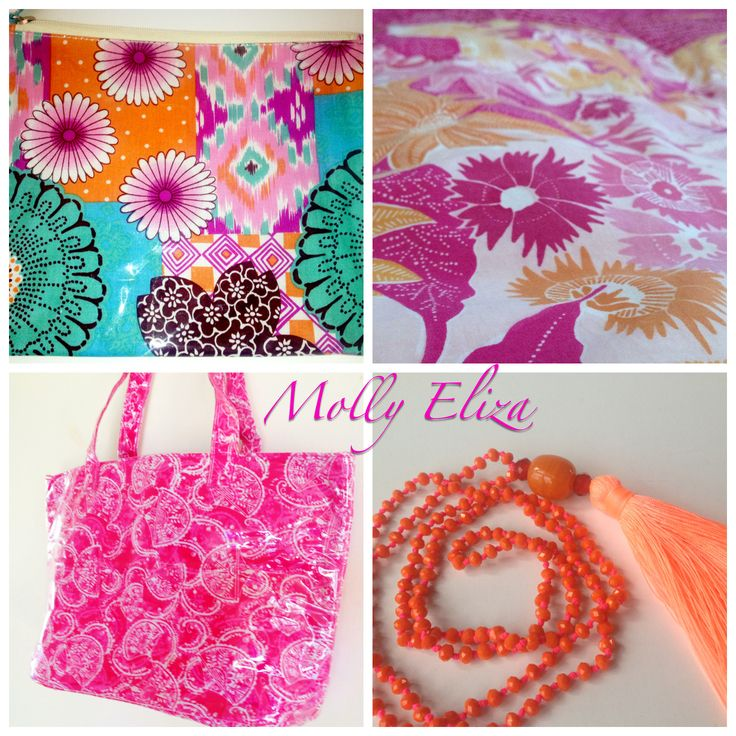 Popping Pink and Tangerine!  Bikini wet bag, boho bright beach bag and gypsy dreaming necklace by Molly & Eliza Come join our design adventures on Instagram #mollyandeliza