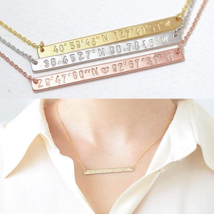 Personalized Coordinates Necklace, Latitude Longitude Necklace Long Skinny Bar GPS Necklace Hand Stamped Bar Name Bar Necklace Wedding 154 by MoruStudio on Etsy