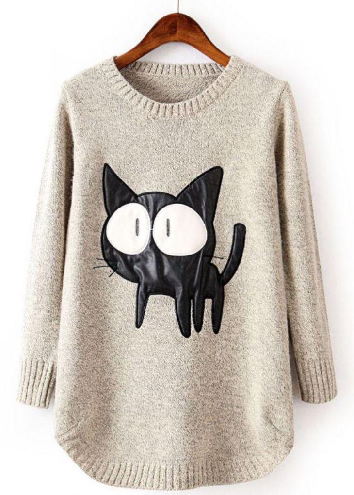 последние свитер с картинкой кошка для некоторых