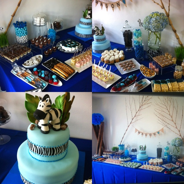 Boy baby shower- I'm diggin the intense blue tablecloth!