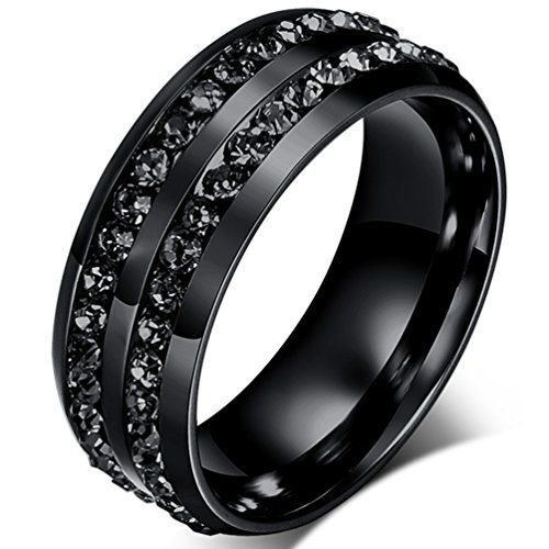 Mens Wedding Bands Classic 8MM Titanium Stainless Steel Plated 18K Black Tungsten Gold Double Row CZ Crystal Womens Promise Anniversary Rings High Polished Finish Comfort Fit Size 6-13