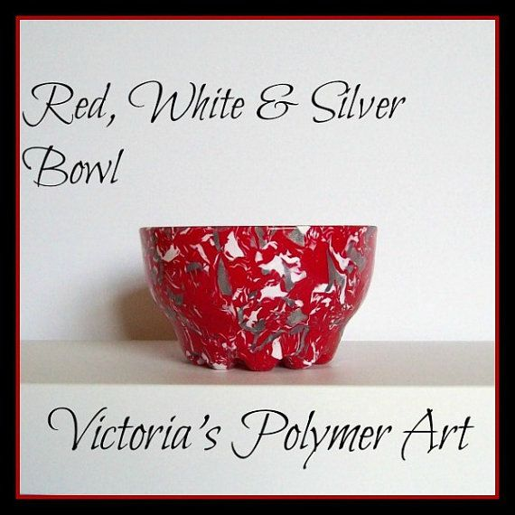 Red White & Silver    Polymer Clay on Glass by VictoriasPolymerArt, £10.50