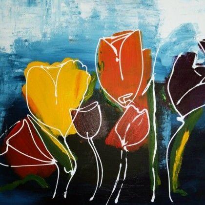 Tulpen-tweeluik. Zelf komen schilderen? Schilderen met een wijntje. Hét creatieve avondje uit. paintbar.nl.