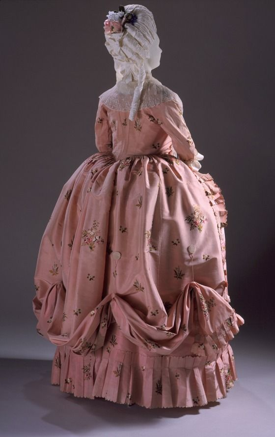 Woman's Dress (open robe and petticoat), ca. 1770-80, English; Brocaded silk taffeta; linen-lined bodice