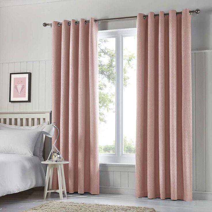 Tyla Pink Blackout Eyelet Curtains | Dunelm