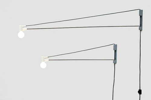 """Cord Lamp (comes in 24″ and 36″ and also available in black) is, as Brendan Ravenhill states, """"an evolutionary descendant of Jean Prouve's Swing Jib lamp."""""""
