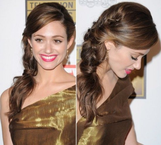 Emmy Rossum in Twisted Side-swept Hairstyle | Fashion Trends Pk