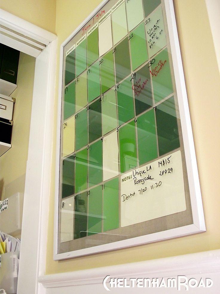 Paint chips + poster frame = dry erase calendar. So Smart.