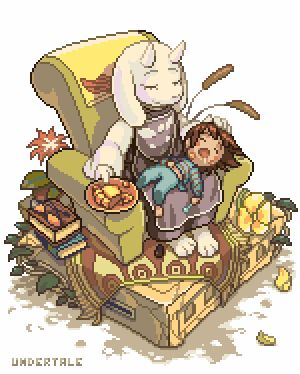 Undertale: Toriel and Frisk in the armchair | Gifs