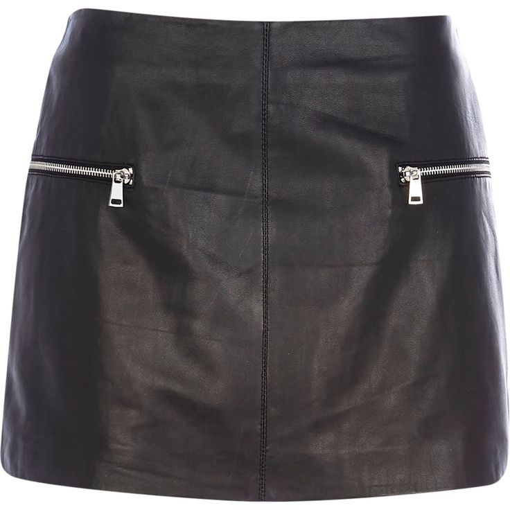 Black leather zip trim mini skirt #riverisland
