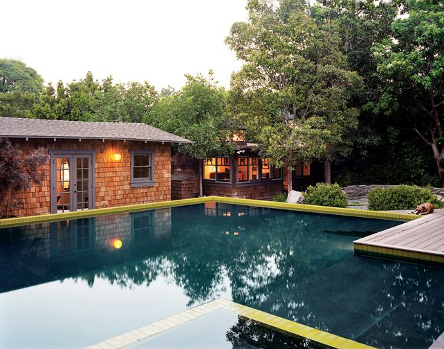 and then the back view of this glorious house. #pool #reflection #trees #home