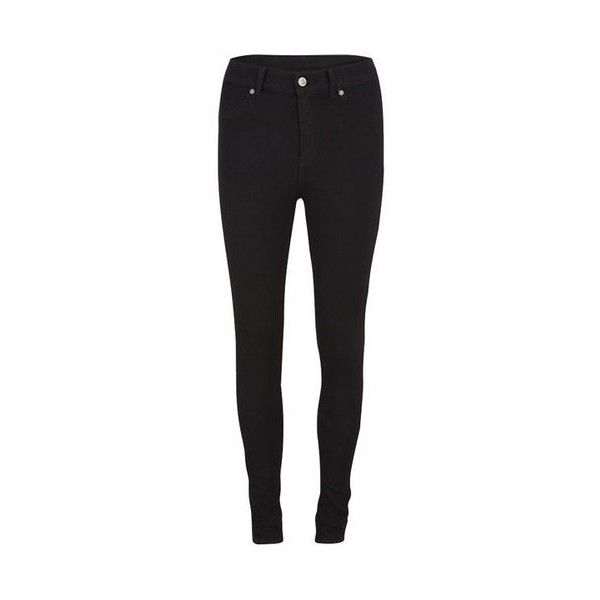 Cheap Monday Black High Waist Spray Skinny Jeans (£55) ❤ liked on Polyvore featuring jeans, pants, bottoms, skinny jeans, high rise jeans, stretchy jeans, stretch jeans and zipper skinny jeans