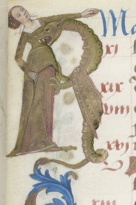Dragon bites a lady: detail from the upper left margin of May. Calendar in the Hours of Charles d'Angoulême (Use of Paris), c. 1475-1500. BnF MS Latin 1173, fol. 3r. Bibliothèque nationale, Paris