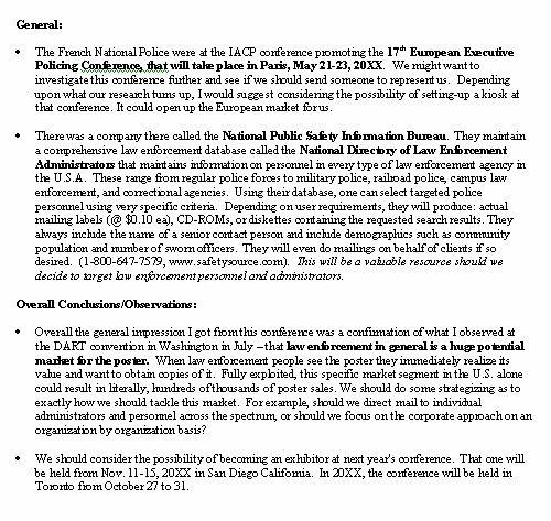 Trip Report – Sample Format – Pg. 3