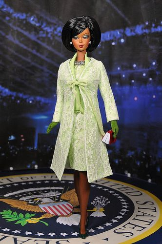 49-1. Outfit inspired by Michelle Obama inaugural lemongrass ensemble for Silkstone & FR dolls by Natalia Sheppard, via Flickr