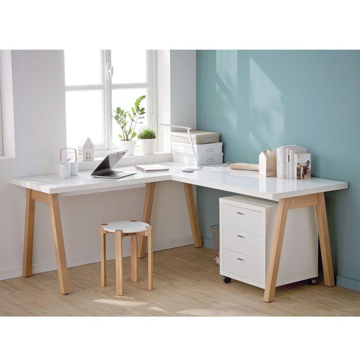 Oslo - Bureaux adultes-Bureaux Bureau blanc d'angle avec piétement en bois…                                                                                                                                                                                 Plus