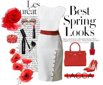 Radiant red and off-withe for the perfect spring outfit! http://laccafashion.com/collections/dresses/products/tulipani-rossi-off-white-dress-with-red-embellishment