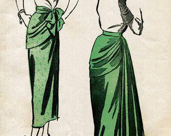 década de 1940 40s patrón de costura de la mujer falda vintage drapeado reproducción de cintura media 28 de tamaño coctel de noche de panel