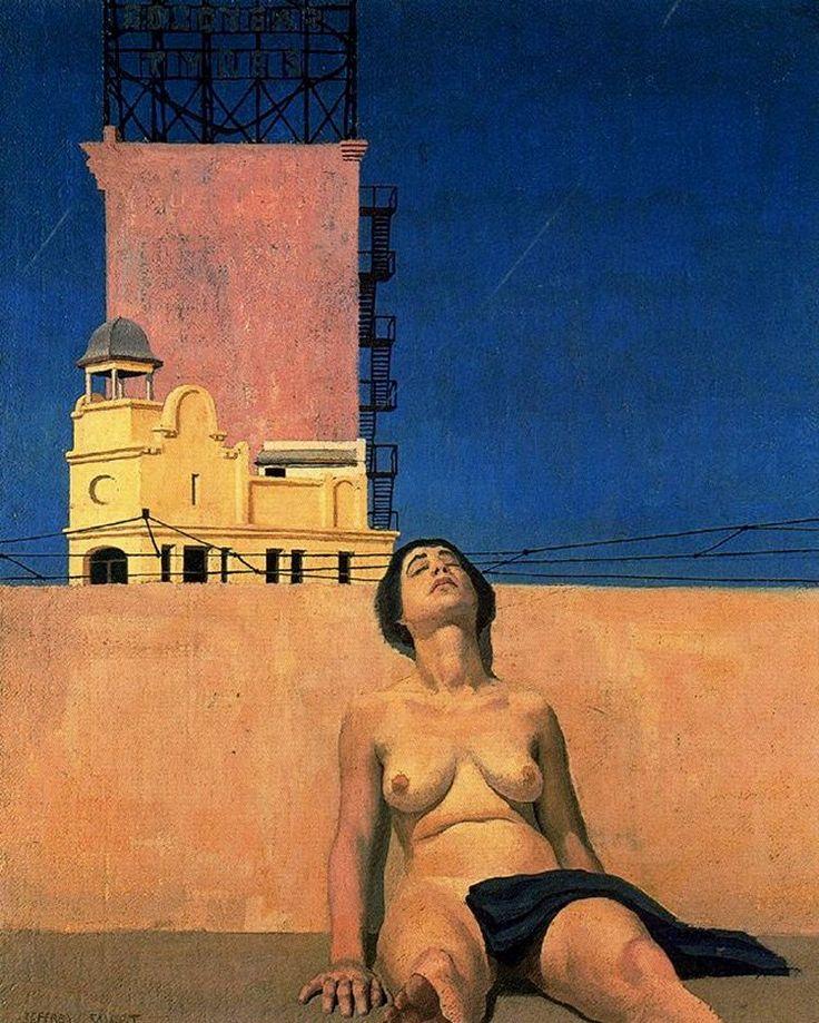 Jeffrey Smart, 'En el tejado', 1962, óleo sobre lienzo, 61 x 50.2 cm. Australia / arte, pintura