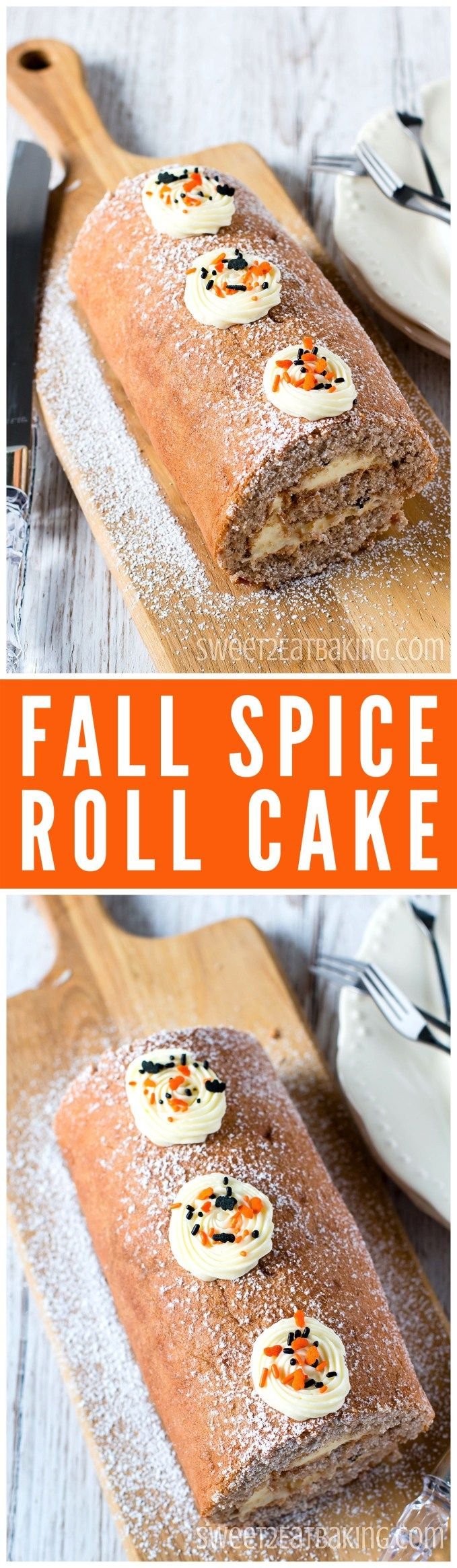 Halloween Fall Spice Swiss Cake Roll Roulade Recipe by Sweet2EatBaking.com | Delicately spiced with  cinnamon, nutmeg, ginger, allspice, cloves, and filled with a tangy cream cheese frosting. The perfect cake for a Fall or Halloween party. #cbias [ad]