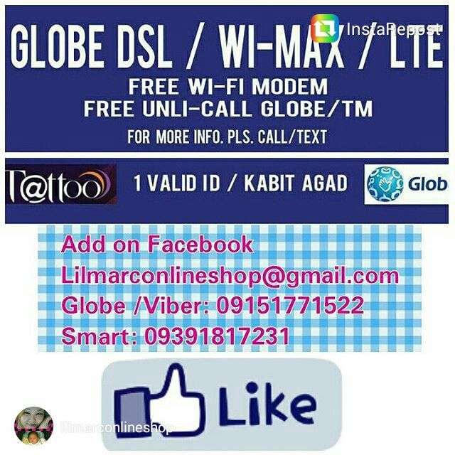 Experience Globe 4g LTE Seemless Technology 1 day process (Express Connect) APPLY NOW!!!! Globe Broadband DSL/4g LTE  -Free router Wifi -Free Landline  -Free Unlicalls to Globe/Tm (Nation Wide) & Landline to Landline(Metro Manila) Requirements : 1 Valid Id Only --LTE 4G----- INTERNET+LANDLINE PLAN 1099 2MBPS+SPOTIFY PLAN 1299 3MBPS+HOOQ PLAN 1599 5MBPS+SPOTIFY/HOOQ/NBA LEAGUE PASS  Copy link to another browser https://m.facebook.com/profile.php?id=1776092535950729